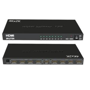 DISTRIBUIDOR SPLITTER HDMI 1X8 ULTRA HD 4K Hasta 20 mts 24 AWG 3D SP-H18K